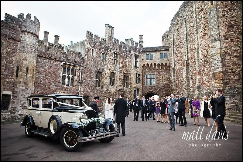 A wedding in the courtyard at Berkeley Castle
