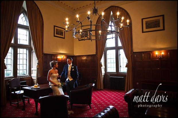 inside Clearwell Castle wedding photo