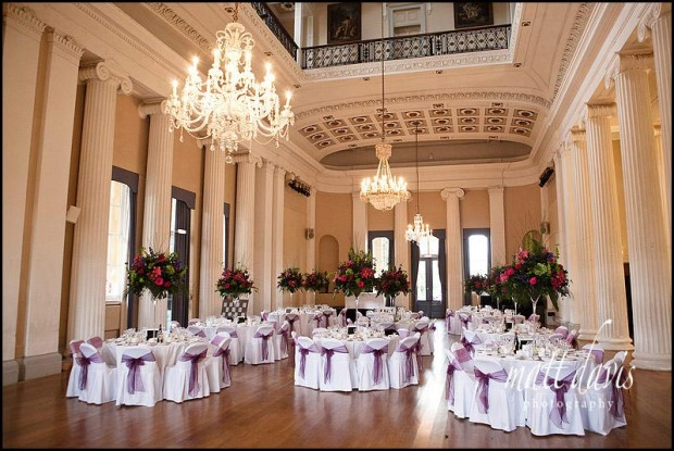Inside Pittville Pump Room set for a wedding