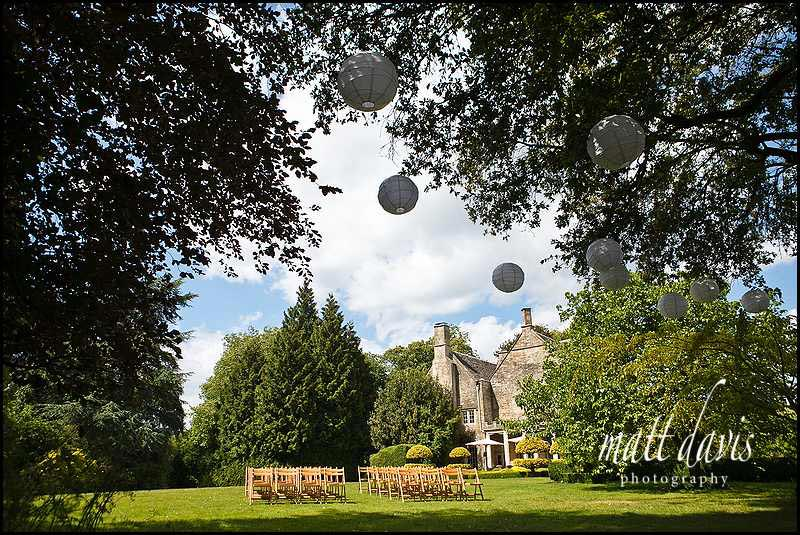 Outdoor wedding ceremony at Barnsley House