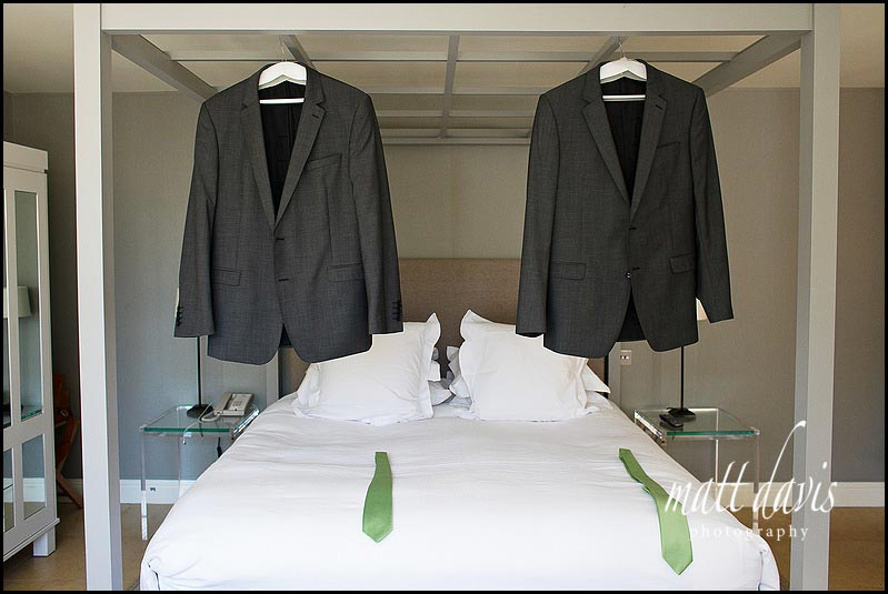 Wedding suits hanging up at Barnsley House