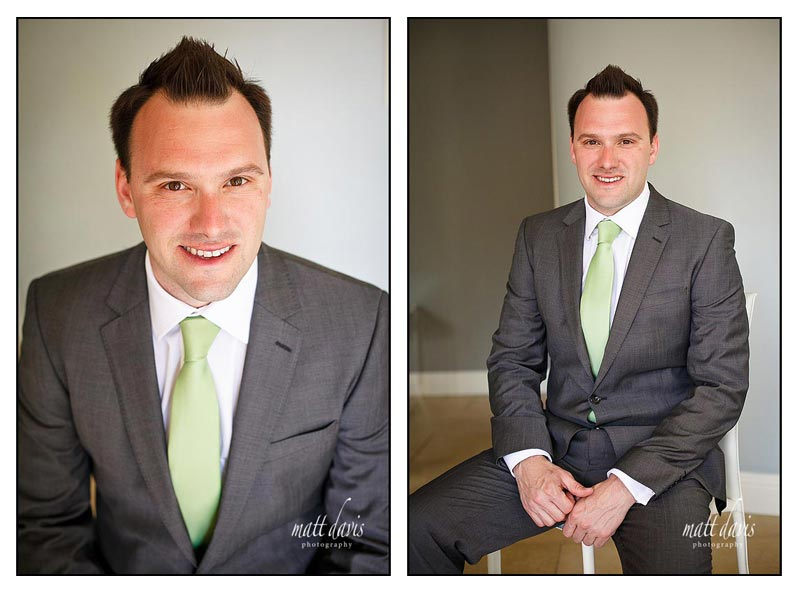 Green tie with grey jacket for groom