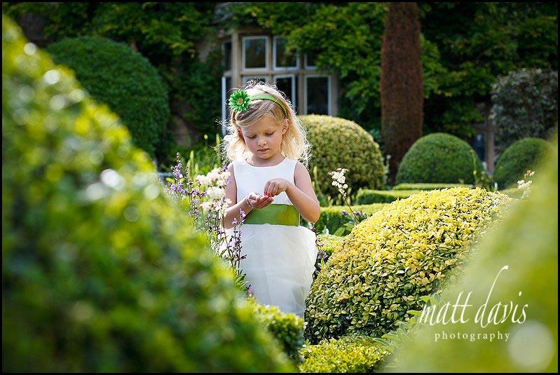 Flower girl outside at Barnsley House