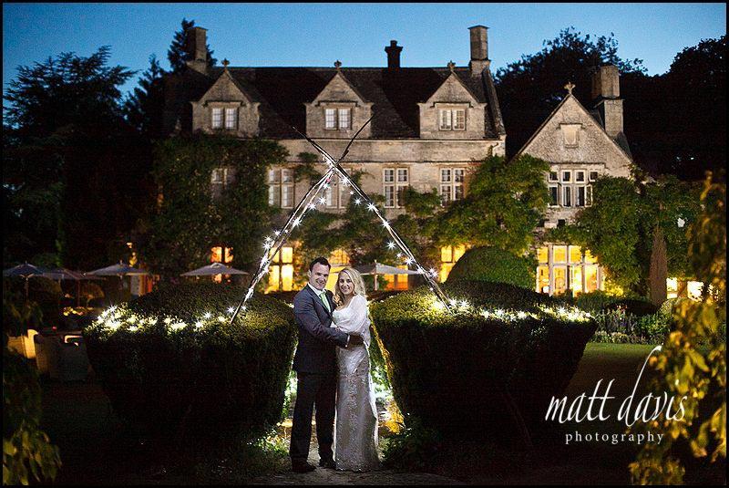 Barnsley House wedding photography of couple at dusk