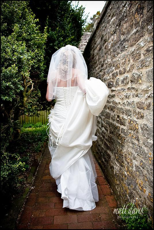 wedding photo of bride at Barnsley House
