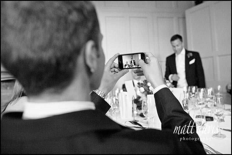 Barnsley House wedding speeches and iphone