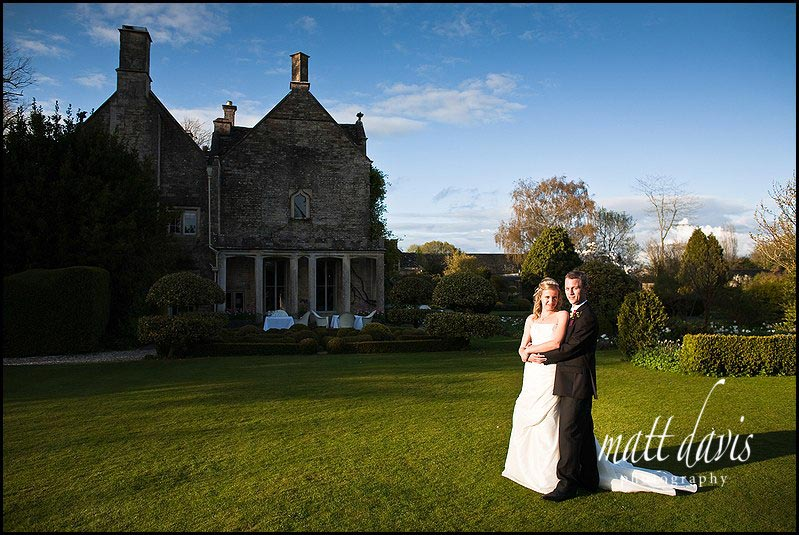 Late evening wedding photos at Barnsley House