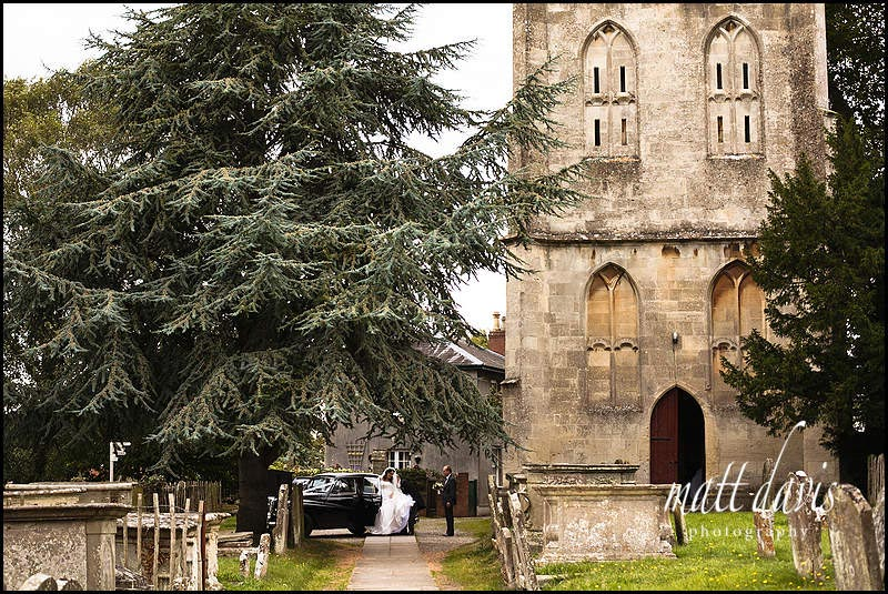 Bride arriving at Berkeley Church, Gloucestershire