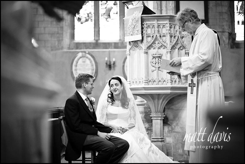 Bride and groom inside Berkeley Church