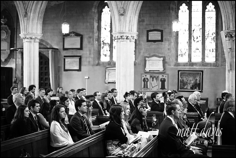 Wedding guests inside Berkeley church
