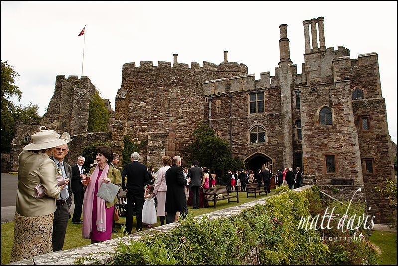 Berkeley Castle wedding photos of guests on the gun terrace