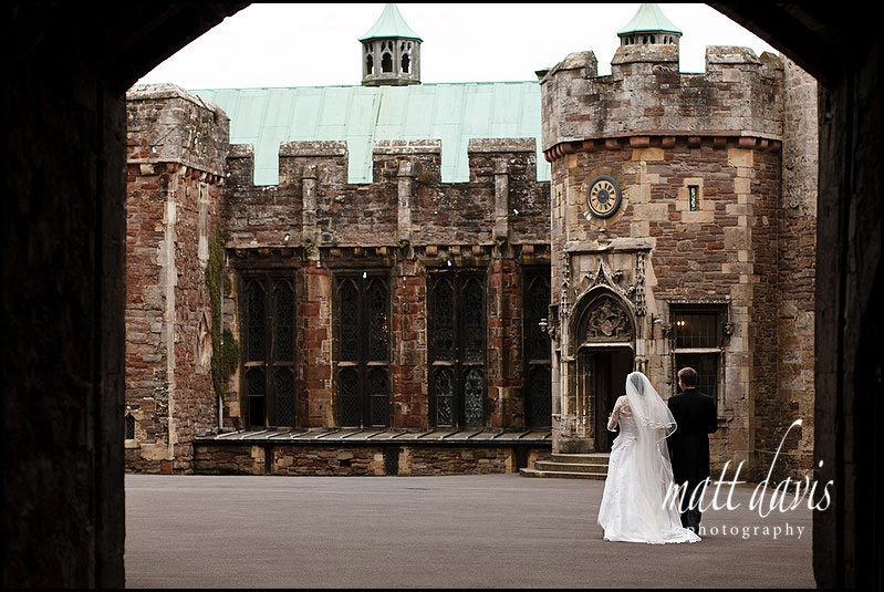 Berkeley Castle wedding couple in courtyard