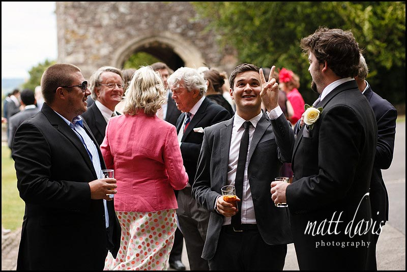 Berkeley Castle wedding guests on gun terrace