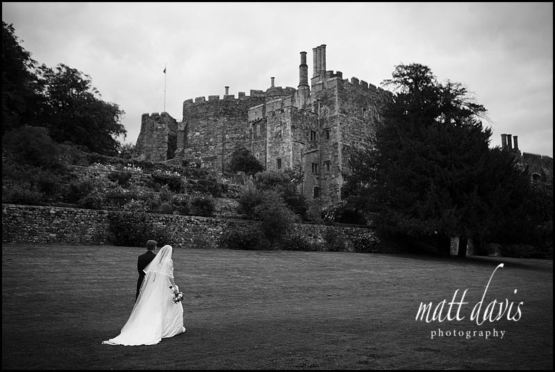 Black and white Berkeley Castle wedding photo