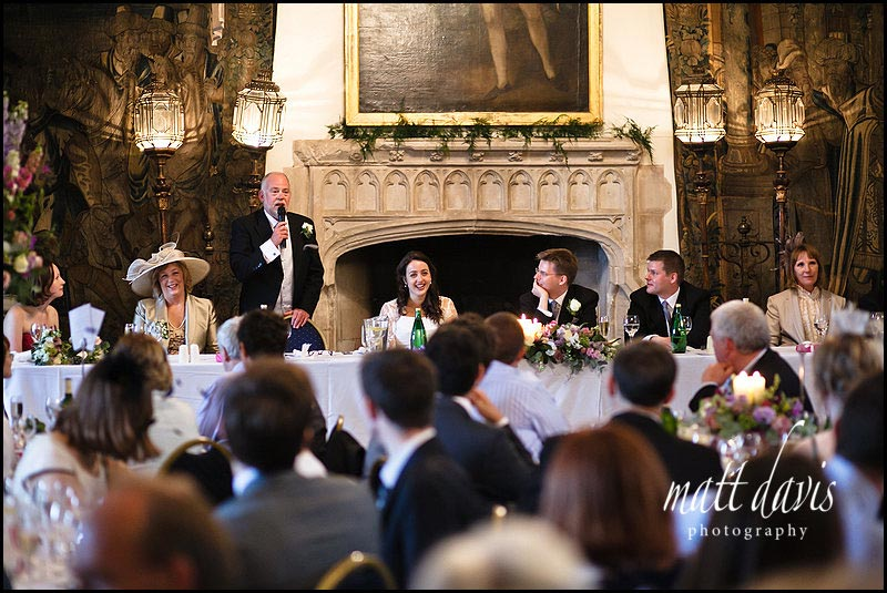 Wedding speeches inside at Berkeley Castle