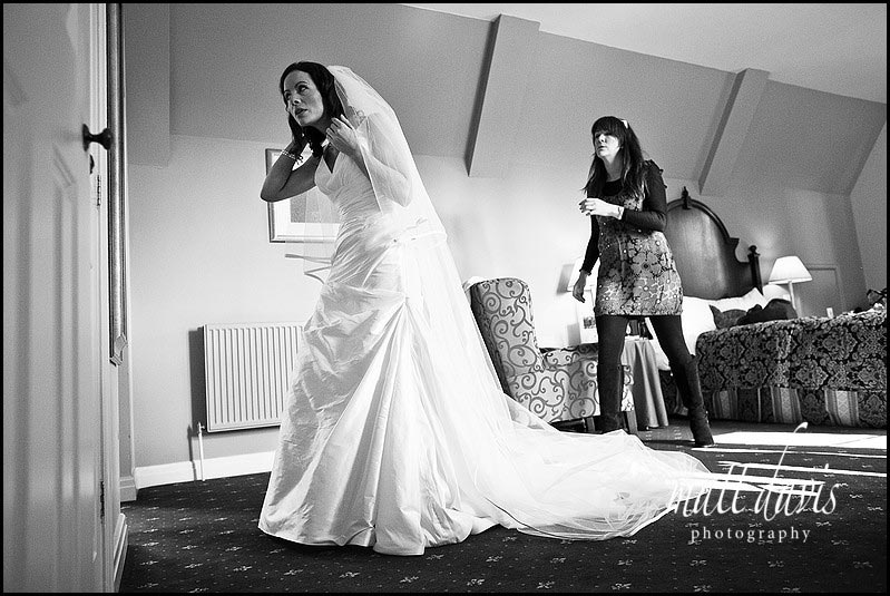 Bride in wedding dress and long veil