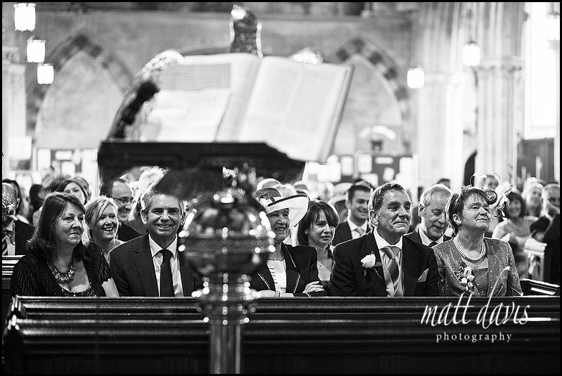wedding guests inside church