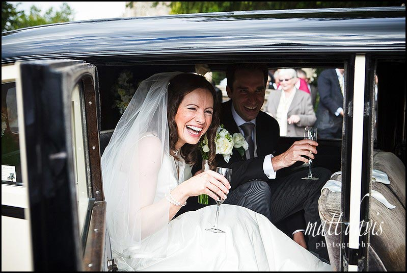 Arriving at Berkeley Castle in wedding car