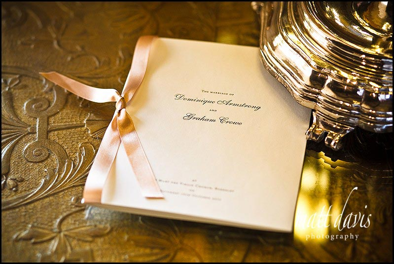 Wedding invite left on side at Berkeley Castle