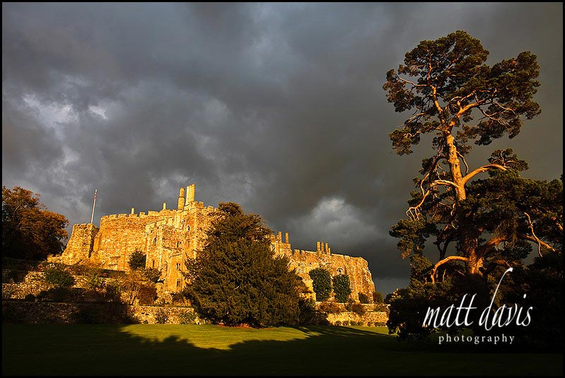 menacing sky over Berkeley Castle wedding venue