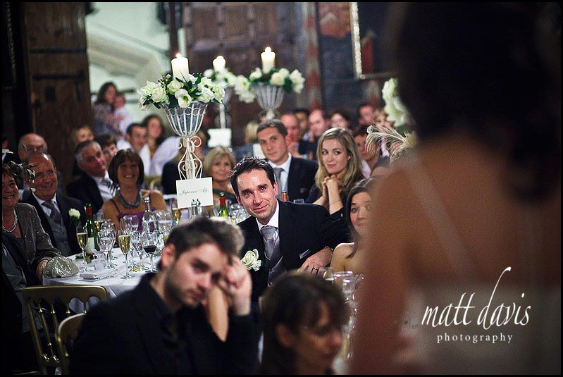 Bride doing a speech at Berkeley Castle