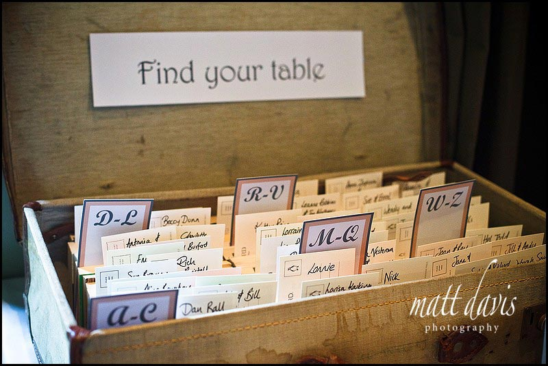 Vintage suitcase for unique table plan