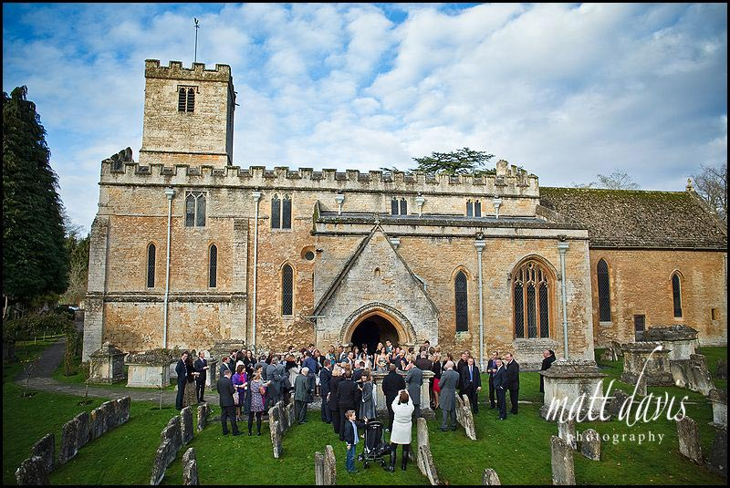 Bibury Church wedding photo outside