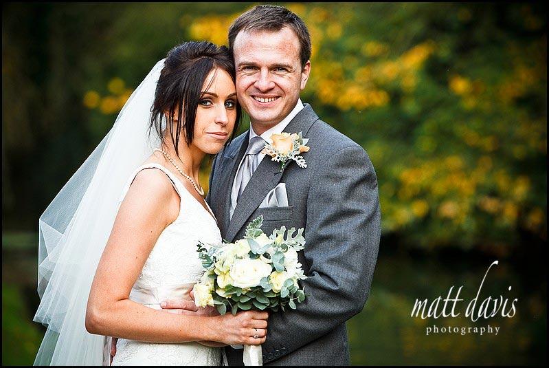 Bibury Court wedding photo of married couple