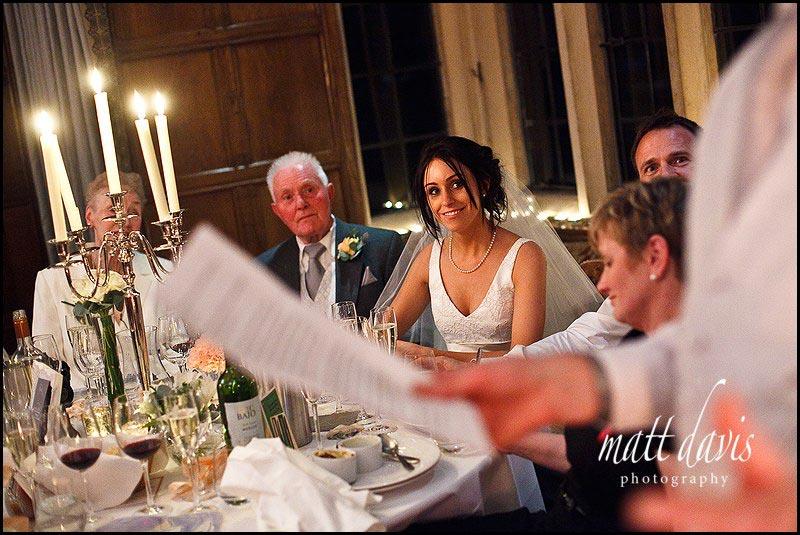 bride during Speeches at Bibury Court