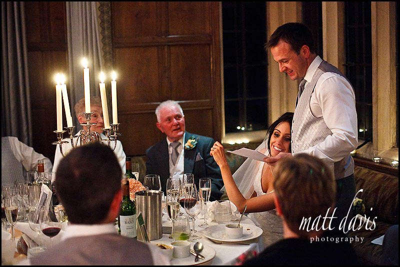 Bride and groom during Speeches at Bibury Court