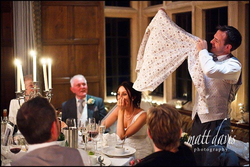 Speech props at Bibury Court wedding