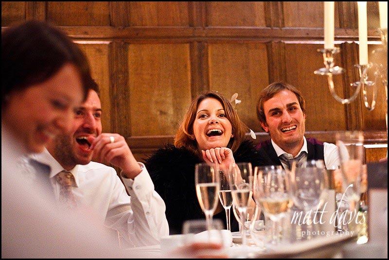 Wedding guests enjoying Speeches at Bibury Court