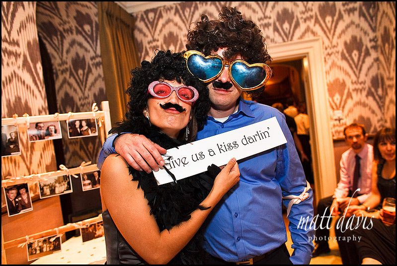 fun props and sunglasses for a wedding