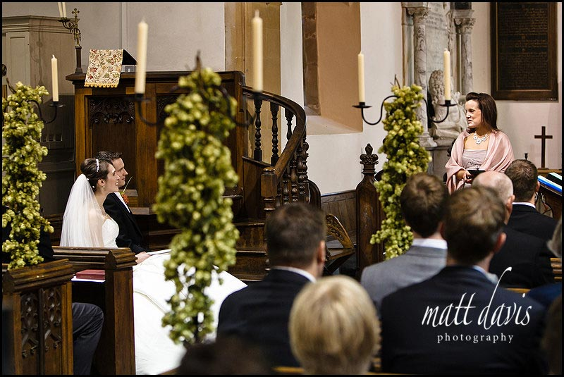 wedding reading at Birtsmorton Court church