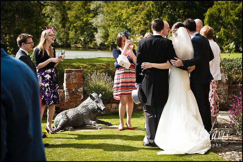 wedding guests at Birtsmorton Court