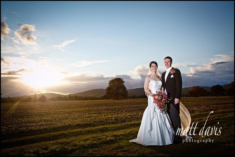 sunset Birtsmorton Court wedding photographs