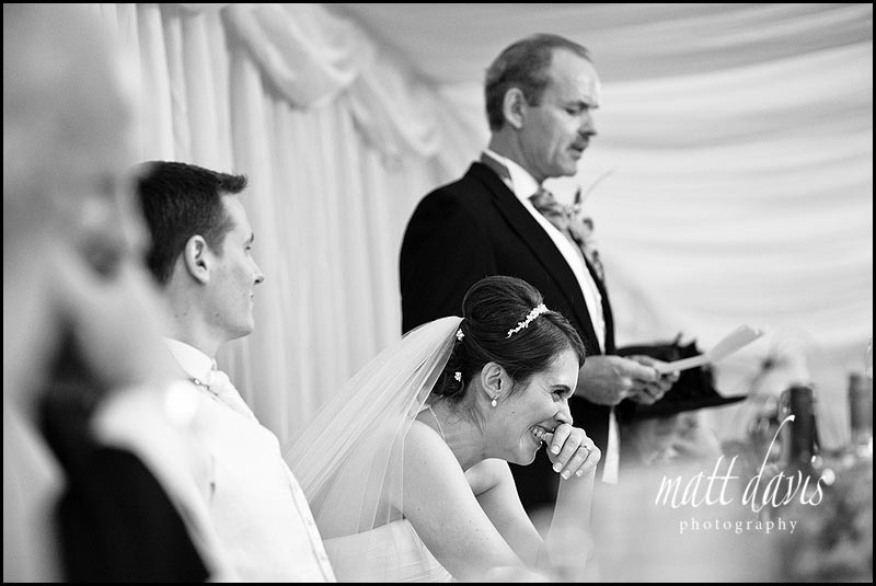 Birtsmorton Court wedding speeches with bride laughing