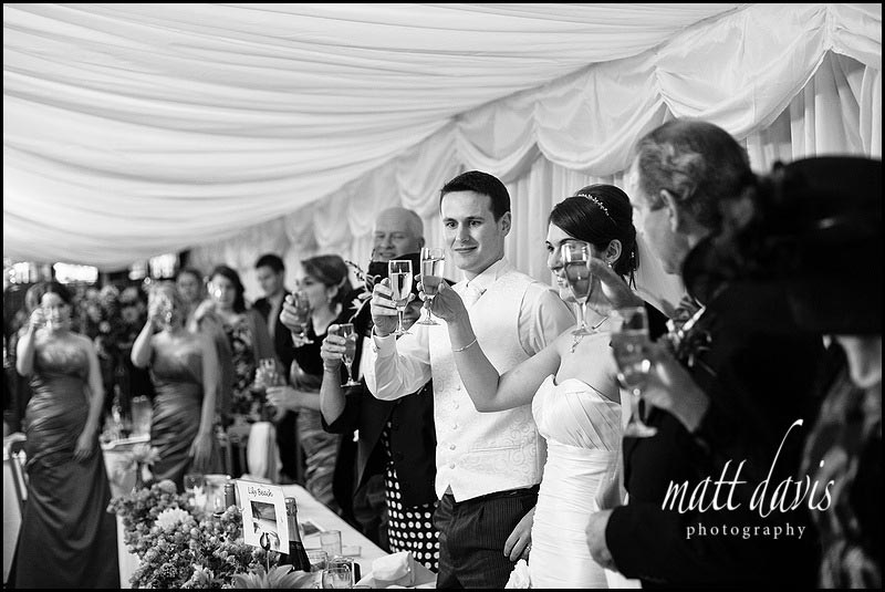 a toast at Birtsmorton Court wedding