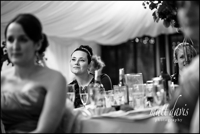 Birtsmorton Court wedding guests during speeches