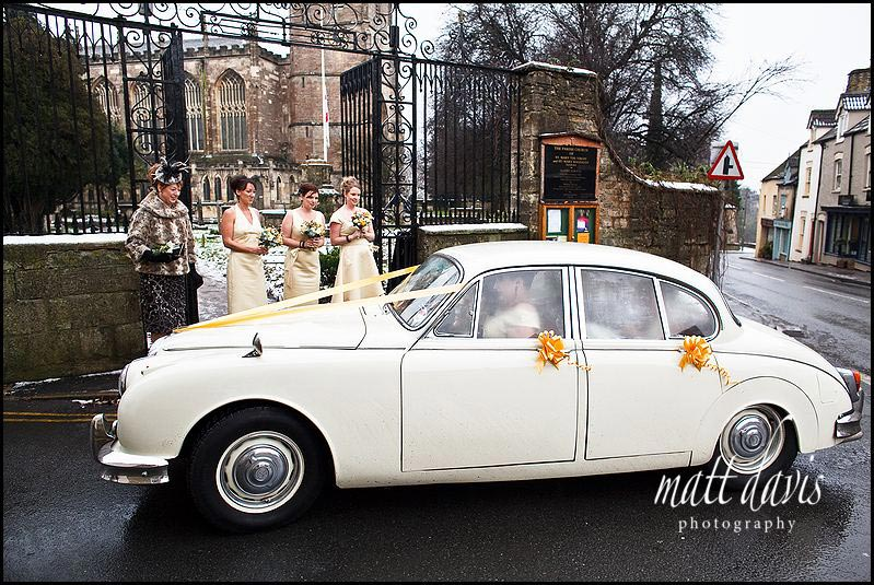 Bride arriving at Tetbury Church