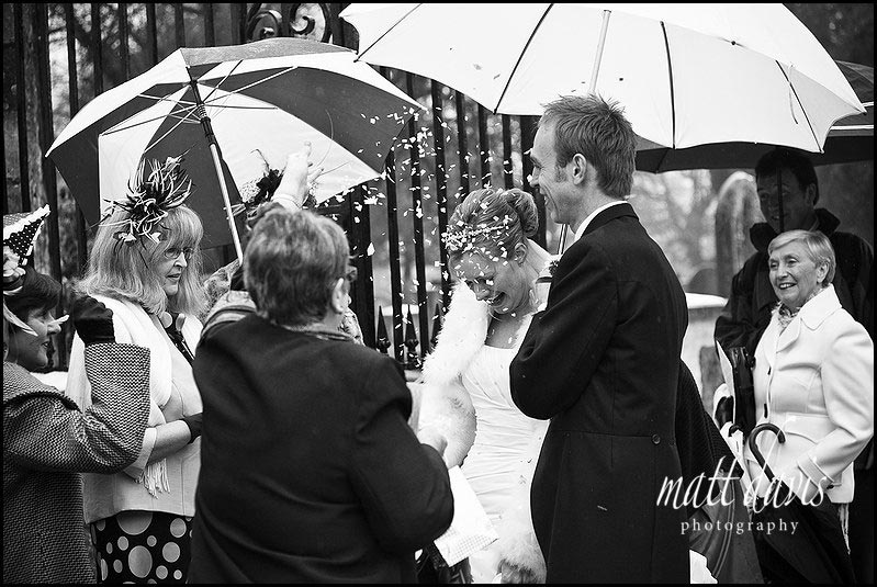 Confetti at a winter wedding in Tetbury