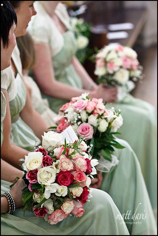 Bridal flowers with sage green