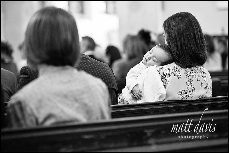 sleeping baby during wedding service