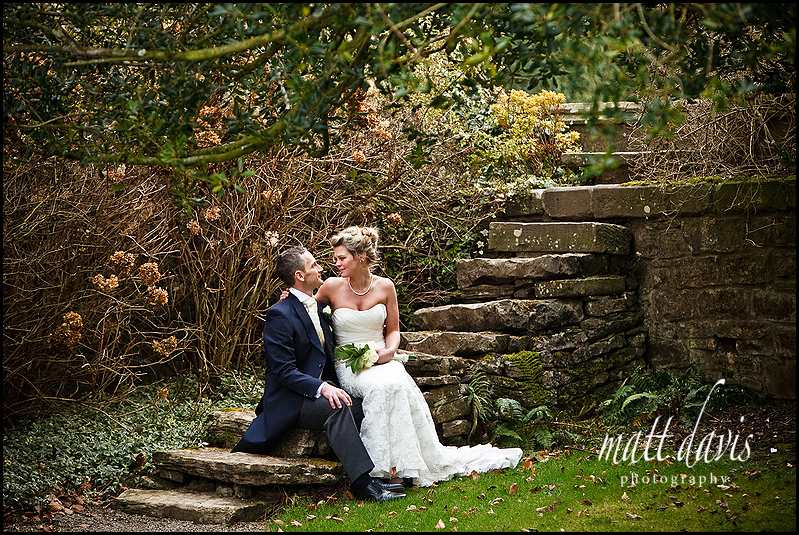 Winter wedding photos in grounds of Clearwell Castle