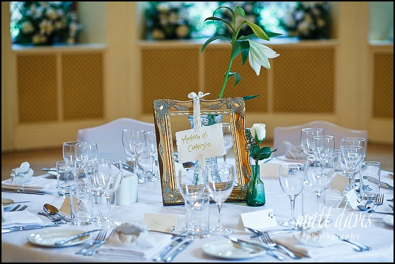 Wedding table decorations at Clearwell Castle