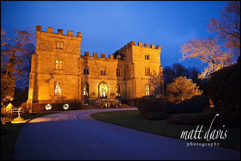 Clearwell Castle wedding venue photo at night