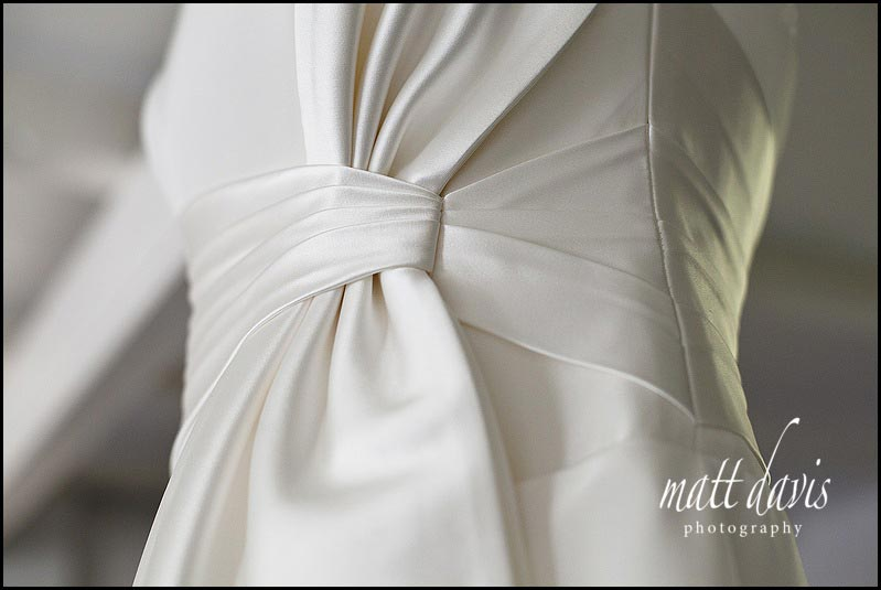 Wedding dress with large bow on side