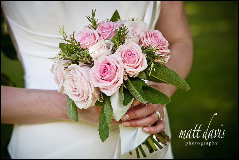 Pale pink wedding flower bouquet