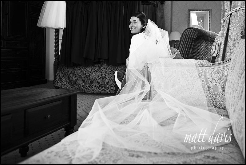 long wedding veil at Dumbleton Hall wedding
