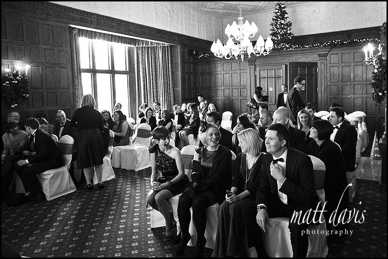 Guests ready for a Dumbleton Hall wedding